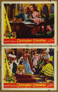 p974 CHRISTOPHER COLUMBUS 2 movie lobby cards '49 Fredric March