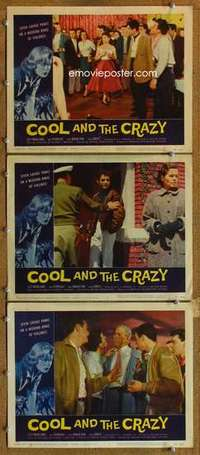 p914 COOL & THE CRAZY 3 movie lobby cards '58 AIP teen drug classic!