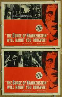 p976 CURSE OF FRANKENSTEIN 2 movie lobby cards '57 Peter Cushing