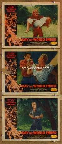 p915 DAY THE WORLD ENDED 3 movie lobby cards '56 Corman, wacky monster!