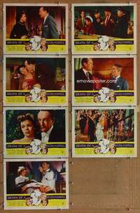 p510 DEATH OF A SCOUNDREL 7 movie lobby cards '56 Zsa Zsa Gabor, Sanders