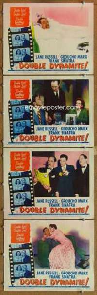 p830 DOUBLE DYNAMITE 4 movie lobby cards '52 Groucho Marx, Jane Russell
