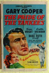 b691 PRIDE OF THE YANKEES one-sheet movie poster R49 Gary Cooper, baseball!