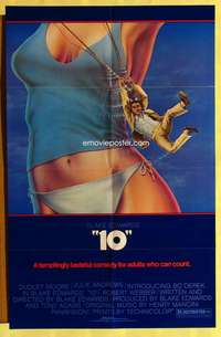 d045 '10' no border style one-sheet movie poster '79 Dudley Moore, great cartoon image!