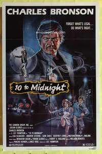 d047 10 TO MIDNIGHT one-sheet movie poster '83 detective Charles Bronson!