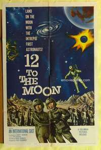 d049 12 TO THE MOON one-sheet movie poster '60 Tom Conway, Tony Dexter