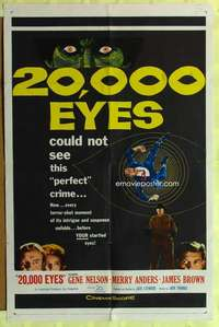 d051 20,000 EYES one-sheet movie poster '61 could not see the perfect crime!