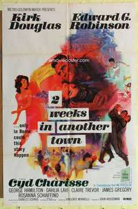 d050 2 WEEKS IN ANOTHER TOWN one-sheet movie poster '62 Douglas, Charisse