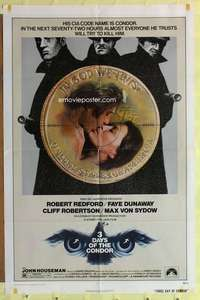 d052 3 DAYS OF THE CONDOR one-sheet movie poster '75 Redford, Dunaway