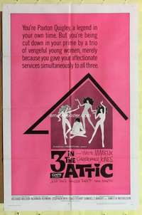 d053 3 IN THE ATTIC one-sheet movie poster '68 Yvette Mimieux, AIP sex!