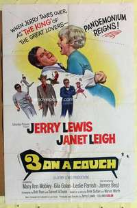 d054 3 ON A COUCH one-sheet movie poster '66 Jerry Lewis, Janet Leigh