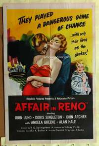 d066 AFFAIR IN RENO one-sheet movie poster '57 three-way triangle!