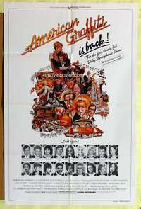 d075 AMERICAN GRAFFITI one-sheet movie poster R78 George Lucas classic!
