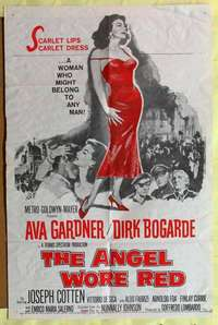 d077 ANGEL WORE RED one-sheet movie poster '60 sexy Ava Gardner, Bogarde