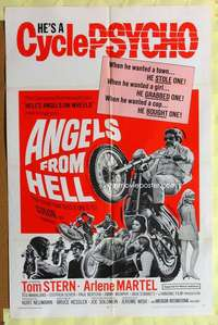d003 ANGELS FROM HELL one-sheet movie poster '68 AIP, cycle-psycho biker!