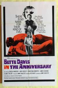 d079 ANNIVERSARY one-sheet movie poster '67 Bette Davis, horror comedy!