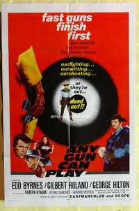 d080 ANY GUN CAN PLAY one-sheet movie poster '67 Edd Byrnes, western!