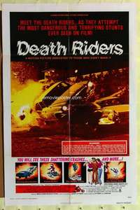 d007 DEATH RIDERS one-sheet movie poster '76 wild stunt car racing!