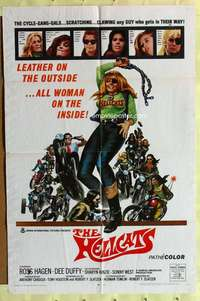 d016 HELLCATS one-sheet movie poster '68 wild cycle-gang-gals in leather!
