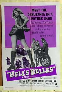 d020 HELL'S BELLES one-sheet movie poster '69 sexy AIP biker ladies!