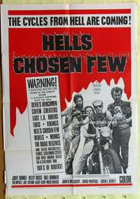 d021 HELL'S CHOSEN FEW one-sheet movie poster '68 motorcycles from Hell!