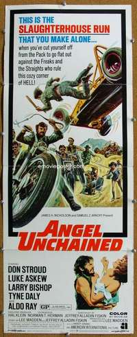 d001 ANGEL UNCHAINED insert movie poster '70 AIP, bikers & hippies!
