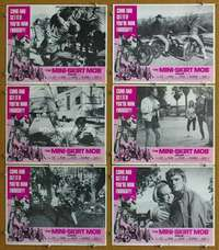 d028 MINI-SKIRT MOB 6 movie lobby cards '68 AIP, sexy biker girl!