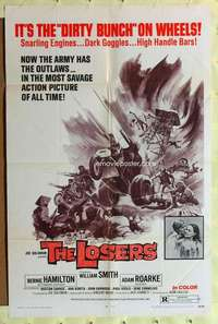 d025 LOSERS one-sheet movie poster '70 it's The Dirty Bunch on wheels!