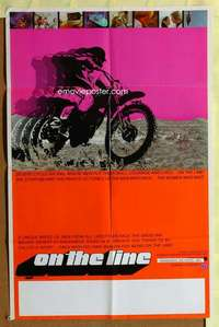 d031 ON THE LINE 23x35 one-sheet movie poster '71 cool dirtbike image!