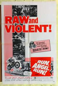 d034 RUN ANGEL RUN one-sheet movie poster '69 raw and violent bikers!
