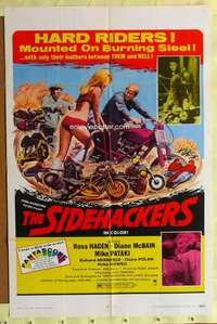 d036 SIDEHACKERS one-sheet movie poster '69 bikers mounted on burning steel!