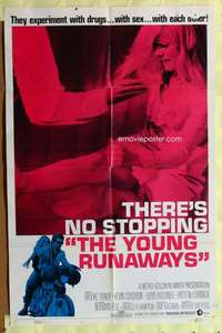 d042 YOUNG RUNAWAYS one-sheet movie poster '68 experiment with drugs & sex!