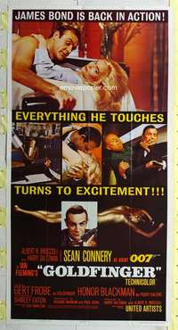 e001 GOLDFINGER three-sheet movie poster '64 Sean Connery as James Bond