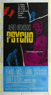 e487 PSYCHO three-sheet movie poster '60 Leigh, Perkins, Hitchcock