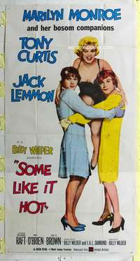 e528 SOME LIKE IT HOT three-sheet movie poster '59 sexy Marilyn Monroe!