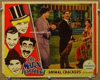 f277 ANIMAL CRACKERS movie lobby card '30 Groucho Marx, Margaret Dumont