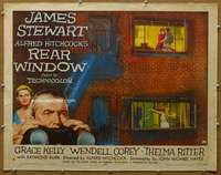 j537 REAR WINDOW half-sheet movie poster '54 Hitchcock, Jimmy Stewart