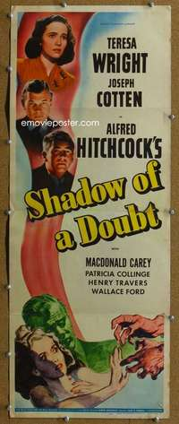 j519 SHADOW OF A DOUBT insert movie poster '43 Alfred Hitchcock, Wright