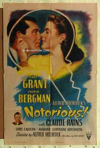 k535 NOTORIOUS style A one-sheet movie poster '46 Cary Grant, Ingrid Bergman