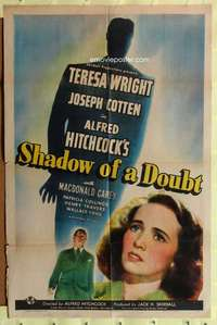 k352 SHADOW OF A DOUBT one-sheet movie poster '43 Alfred Hitchcock, Wright