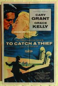k162 TO CATCH A THIEF one-sheet movie poster '55 Kelly, Grant, Hitchcock