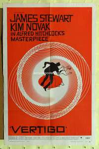 k001 VERTIGO one-sheet movie poster '58 Alfred Hitchcock, Saul Bass art!