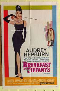 r001 BREAKFAST AT TIFFANY'S one-sheet movie poster '61 NO restoration!