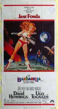 t003 BARBARELLA three-sheet movie poster '68 sexy Jane Fonda, Roger Vadim