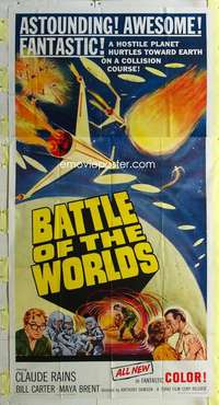 t004 BATTLE OF THE WORLDS three-sheet movie poster '61 cool Italian sci-fi!