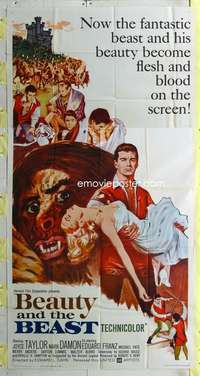 t005 BEAUTY & THE BEAST three-sheet movie poster '62 Mark Damon, Taylor