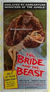 t006 BRIDE & THE BEAST three-sheet movie poster '58 Ed Wood classic ape!