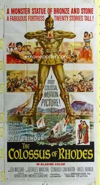t008 COLOSSUS OF RHODES three-sheet movie poster '61 Leone, monster statue!