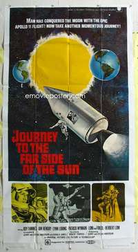 t016 JOURNEY TO THE FAR SIDE OF THE SUN three-sheet movie poster '69 sci-fi!