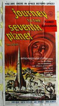 t017 JOURNEY TO THE SEVENTH PLANET three-sheet movie poster '61 AIP sci-fi!